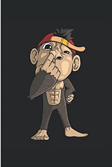 Notizbuch - Süßer Affe popelt in der Nase