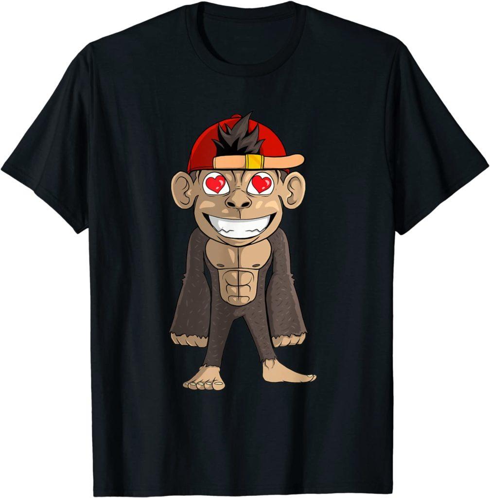 Süßer Affe mit Herzen in den Augen T-Shirt