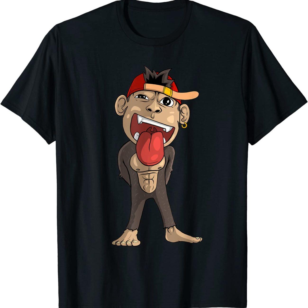 Süßer Affe streckt frech die Zunge raus T-Shirt