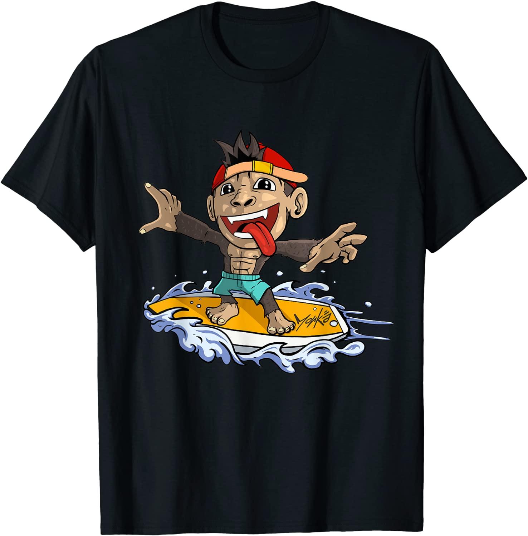 Surfing Monkey - süßer Affe auf dem Surfboard - Standard T-Shirt