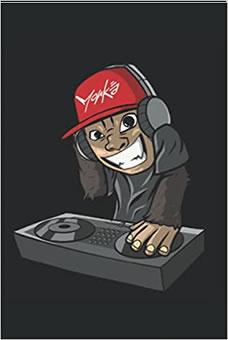 Süßer Affe als Discjockey