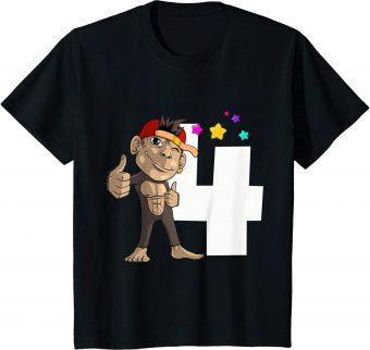 4_ Geburtstag Affe 4 Jahre alt - Standard T-Shirt