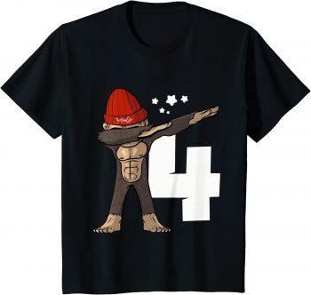 4. Geburtstag Dabbing Affe 4 Jahre alt - Standard T-Shirt