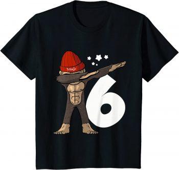 6_ Geburtstag Dabbing Affe 6 Jahre alt - Standard T-Shirt