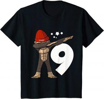9_ Geburtstag Dabbing Affe 9 Jahre alt - Standard T-Shirt