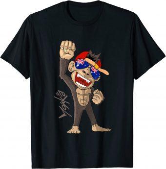 Australien Flagge - jubelnder Affe - Fan - Standard T-Shirt
