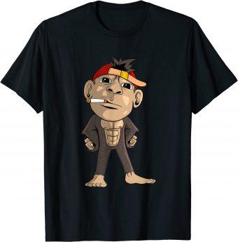 Cooler Affe mit Zigarette im Mund T-Shirt