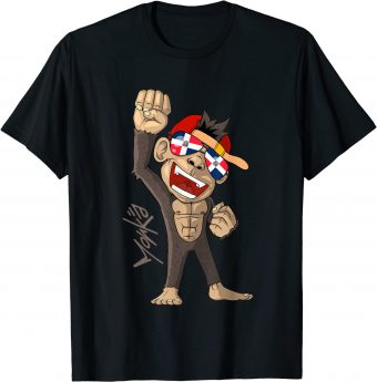Dominikanische Republik Flagge - jubelnder Affe - Fan - Standard T-Shirt
