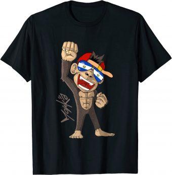 El Salvador Flagge - jubelnder Affe - Fan - Standard T-Shirt