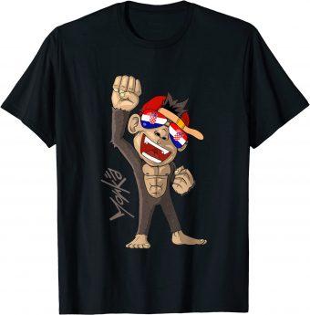 Kroatien Flagge - jubelnder Affe - Fan T-Shirt