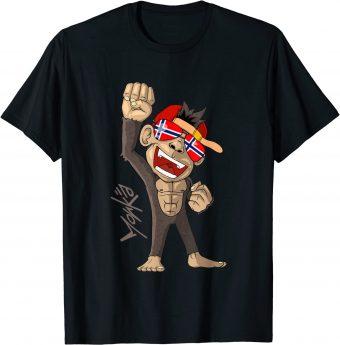 Norwegen Flagge - jubelnder Affe - Fan - Standard T-Shirt