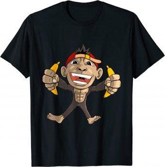 Süßer Affe mit Bananen in den Händen T-Shirt