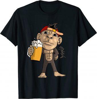 Süßer Affe mit Bier in der Hand - Standard T-Shirt