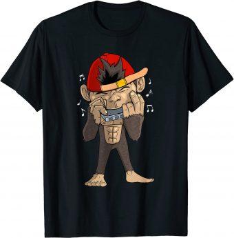 Süßer Affe spiel Mundharmonika T-Shirt