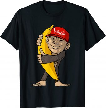 Süßer Affe umarmt eine Banane - Standard T-Shir
