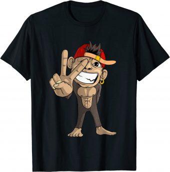 Süßer Affe zeigt Viktory-Zeichen T-Shirt