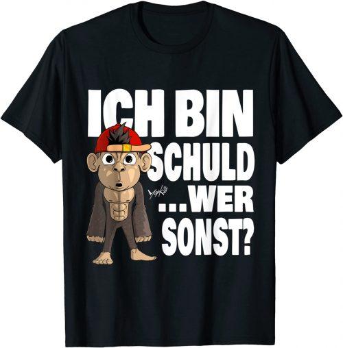 Witziger Affe Ich bin Schuld Spruch - Standard T-Shirt